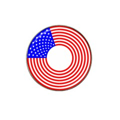 Stars Stripes Circle Red Blue Hat Clip Ball Marker (10 Pack) by Mariart