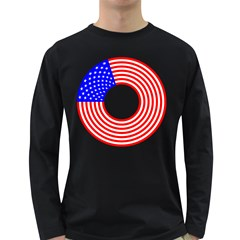 Stars Stripes Circle Red Blue Long Sleeve Dark T Shirts
