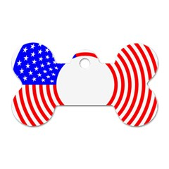 Stars Stripes Circle Red Blue Dog Tag Bone (one Side) by Mariart