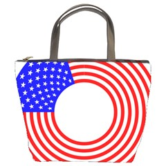Stars Stripes Circle Red Blue Bucket Bags by Mariart