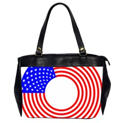Stars Stripes Circle Red Blue Office Handbags (2 Sides)  by Mariart