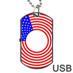 Stars Stripes Circle Red Blue Dog Tag Usb Flash (one Side) by Mariart