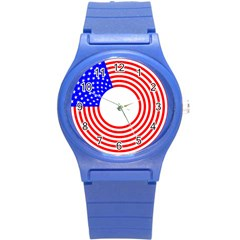 Stars Stripes Circle Red Blue Round Plastic Sport Watch (s) by Mariart