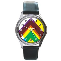 Triangle Chevron Rainbow Web Geeks Round Metal Watch by Mariart