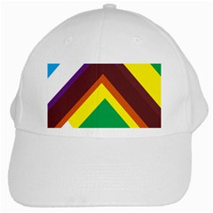 Triangle Chevron Rainbow Web Geeks White Cap by Mariart