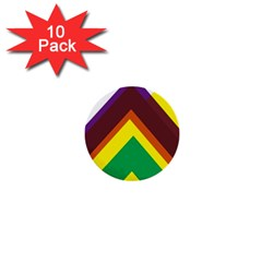 Triangle Chevron Rainbow Web Geeks 1  Mini Buttons (10 Pack)  by Mariart