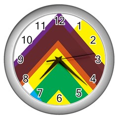 Triangle Chevron Rainbow Web Geeks Wall Clocks (silver)  by Mariart