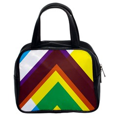 Triangle Chevron Rainbow Web Geeks Classic Handbags (2 Sides) by Mariart