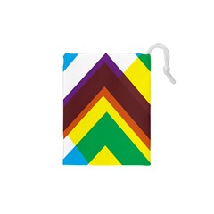 Triangle Chevron Rainbow Web Geeks Drawstring Pouches (xs)  by Mariart
