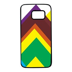 Triangle Chevron Rainbow Web Geeks Samsung Galaxy S7 Black Seamless Case by Mariart