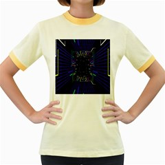 Seamless 3d Animation Digital Futuristic Tunnel Path Color Changing Geometric Electrical Line Zoomin Women s Fitted Ringer T Shirts