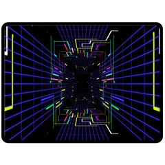 Seamless 3d Animation Digital Futuristic Tunnel Path Color Changing Geometric Electrical Line Zoomin Fleece Blanket (large)  by Mariart