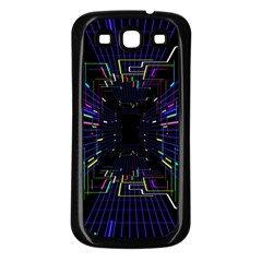 Seamless 3d Animation Digital Futuristic Tunnel Path Color Changing Geometric Electrical Line Zoomin Samsung Galaxy S3 Back Case (black)