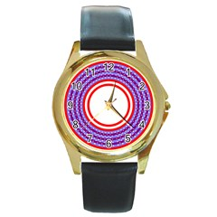 Stars Stripes Circle Red Blue Space Round Round Gold Metal Watch by Mariart