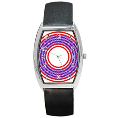 Stars Stripes Circle Red Blue Space Round Barrel Style Metal Watch