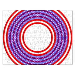 Stars Stripes Circle Red Blue Space Round Rectangular Jigsaw Puzzl by Mariart