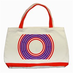 Stars Stripes Circle Red Blue Space Round Classic Tote Bag (red) by Mariart
