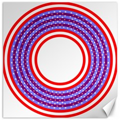 Stars Stripes Circle Red Blue Space Round Canvas 12  X 12   by Mariart