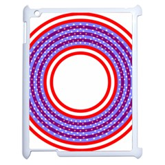 Stars Stripes Circle Red Blue Space Round Apple Ipad 2 Case (white) by Mariart