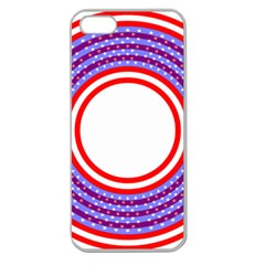 Stars Stripes Circle Red Blue Space Round Apple Seamless Iphone 5 Case (clear) by Mariart