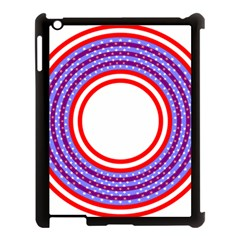 Stars Stripes Circle Red Blue Space Round Apple Ipad 3/4 Case (black) by Mariart