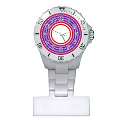 Stars Stripes Circle Red Blue Space Round Plastic Nurses Watch by Mariart