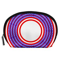 Stars Stripes Circle Red Blue Space Round Accessory Pouches (large)  by Mariart