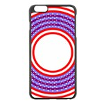 Stars Stripes Circle Red Blue Space Round Apple iPhone 6 Plus/6S Plus Black Enamel Case Front