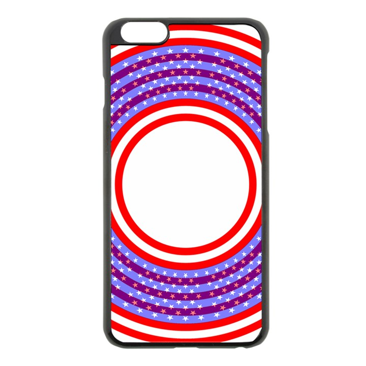 Stars Stripes Circle Red Blue Space Round Apple iPhone 6 Plus/6S Plus Black Enamel Case