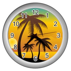 Sunset Summer Wall Clocks (silver)