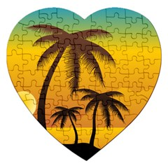Sunset Summer Jigsaw Puzzle (heart) by Mariart