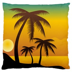 Sunset Summer Large Cushion Case (two Sides) by Mariart