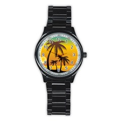 Sunset Summer Stainless Steel Round Watch by Mariart