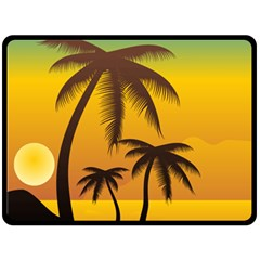 Sunset Summer Double Sided Fleece Blanket (large)  by Mariart