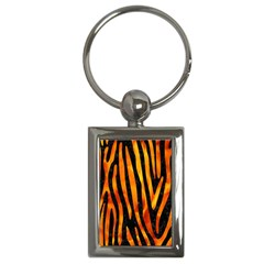 Skin4 Black Marble & Fire (r) Key Chains (rectangle)  by trendistuff