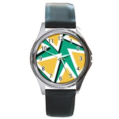 Triangles Texture Shape Art Green Yellow Round Metal Watch by Mariart