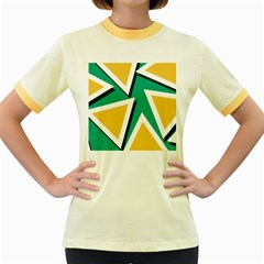 Triangles Texture Shape Art Green Yellow Women s Fitted Ringer T Shirts