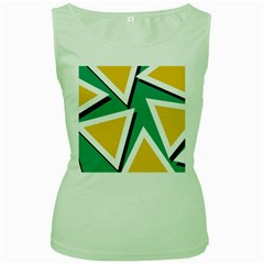 Triangles Texture Shape Art Green Yellow Women s Green Tank Top