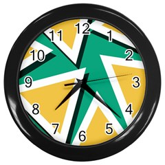 Triangles Texture Shape Art Green Yellow Wall Clocks (black) by Mariart