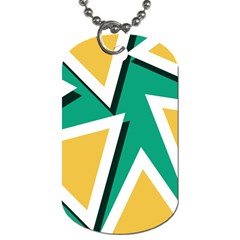 Triangles Texture Shape Art Green Yellow Dog Tag (two Sides)