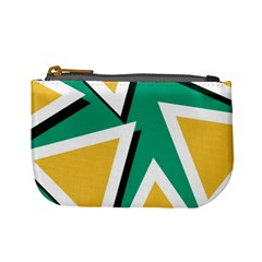 Triangles Texture Shape Art Green Yellow Mini Coin Purses