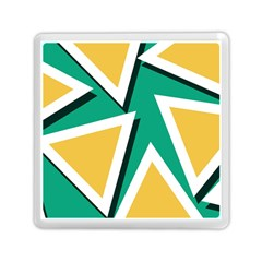 Triangles Texture Shape Art Green Yellow Memory Card Reader (square)  by Mariart