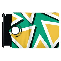 Triangles Texture Shape Art Green Yellow Apple Ipad 3/4 Flip 360 Case by Mariart