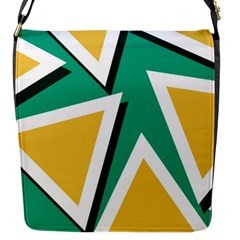 Triangles Texture Shape Art Green Yellow Flap Messenger Bag (s) by Mariart