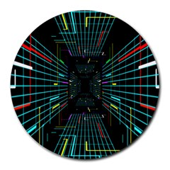 Seamless 3d Animation Digital Futuristic Tunnel Path Color Changing Geometric Electrical Line Zoomin Round Mousepads by Mariart