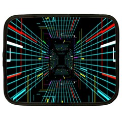 Seamless 3d Animation Digital Futuristic Tunnel Path Color Changing Geometric Electrical Line Zoomin Netbook Case (xxl)  by Mariart