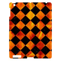Square2 Black Marble & Fire Apple Ipad 3/4 Hardshell Case by trendistuff