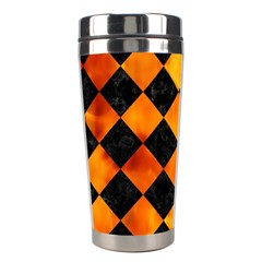 Square2 Black Marble & Fire Stainless Steel Travel Tumblers by trendistuff