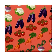 Vegetable Carrot Tomato Pumpkin Eggplant Tile Coasters by Mariart