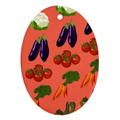 Vegetable Carrot Tomato Pumpkin Eggplant Ornament (oval)